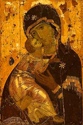 Владимирская икона Божией Матери. Константинополь. До 1130 г. (Ц. свт. Николая в Толмачах при ГТГ)