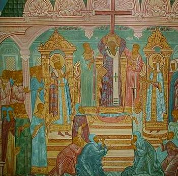 Воздвижение Креста. Роспись Крестовоздвиженской церкви Толгского монастыря (фрагмент)