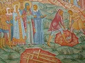 Обретение Креста. Роспись Крестовоздвиженской церкви Толгского монастыря, Ярославль (фрагмент)