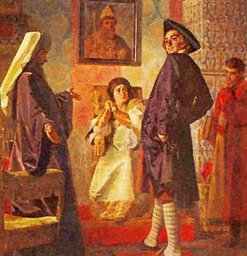 Петр I примеряет иноземное платье. Картина художника Неврева
