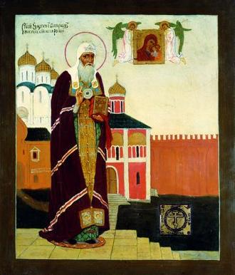 Свщмч. Ермоген. Икона. 1913 г. Мастерская Н. П. и И. П. Пашковых (ГММК)