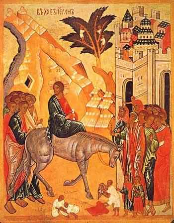 Вход Господень в Иерусалим. Новгородская таблетка, XV в.