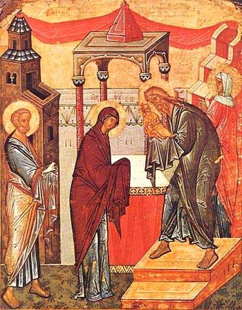 Сретение Господне. Двухсторонняя икона из Софийского собора в Новгороде, конец XV в.