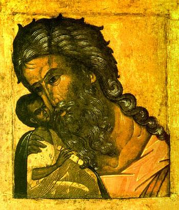 Богомладенец Иисус и праведный Симеон Богоприимец. Древнерусская икона
