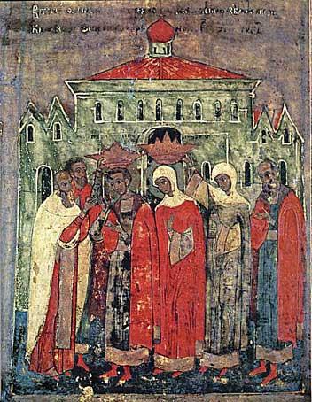 Клеймо иконы �Петр и Феврония с житиями�, 1618 г.