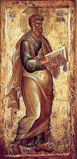 Евангелист Матфей, икона XVв.