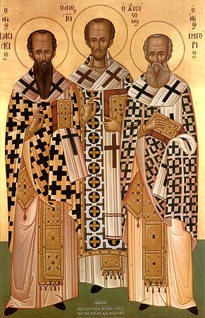 Вселенские святители и учители: Василий Великий, Иоанн Златоуст и Григорий Богослов