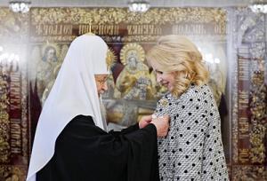 Святейший Патриарх Кирилл наградил заместителя председателя Правительства РФ Т.А. Голикову орденом преподобной Евфросинии Московской
